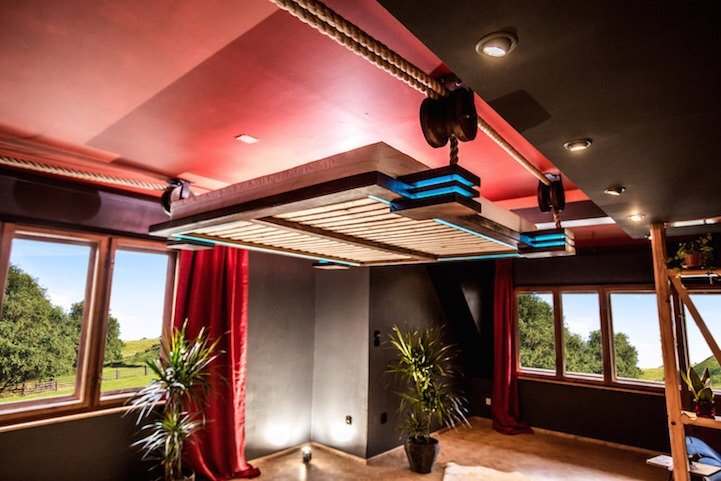 เตียงรีโมทคอนโทล..แขวนด้วยเชือก เก็บติดฝ้าเพดาน จะนอนก็สั่งเลื่อนลงมา 18 - bed