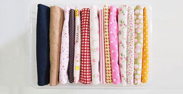 DIY : จัดเก็บผ้าผืนสวยสไตล์คมมาริ (KonMari) 13 - fold fabric
