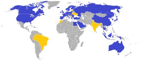 แผนที่ประเทศต่างๆ ที่มีร้านค้า IKEA ทั่วโลก