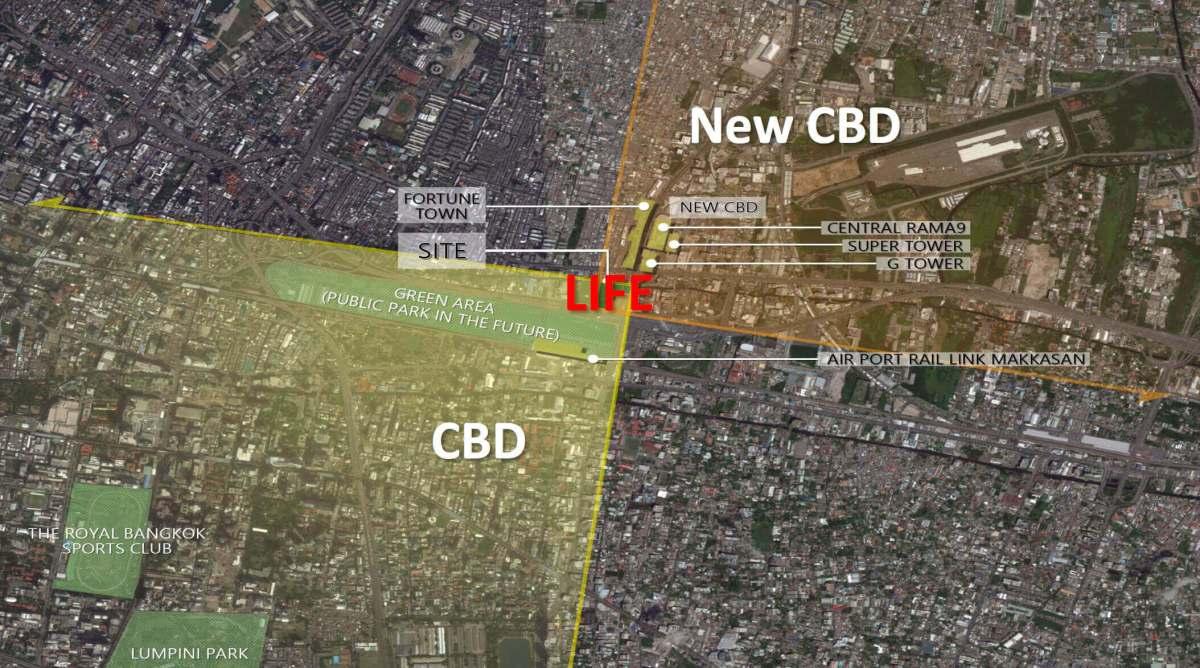 newcbd rama9 สำรวจทำเล New CBD แยกพระราม 9 พร้อมคอนโด Life ASOKE RAMA9 ส่วนกลางเหนือชั้น Rooftop Facility ขนาด 1.5 ไร่ ใกล้ MRT 300 เมตร
