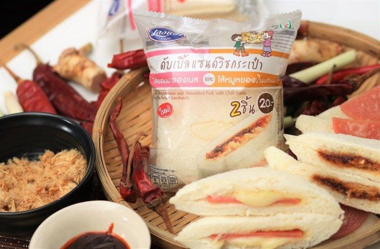เลอแปงดับเบิ้ลแซนด์วิชกระเป๋า ไส้แฮมมายองเนส และไส้หมูหยองน้ำพริกเผา 13 -