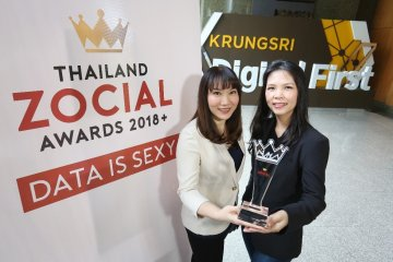 ธนาคารกรุงศรีอยุธยารับรางวัล Best Brand Performance (Finalist) ติดต่อกันเป็นปีที่ 2 จากเวที Thailand Zocial Award 8 - Krungsri