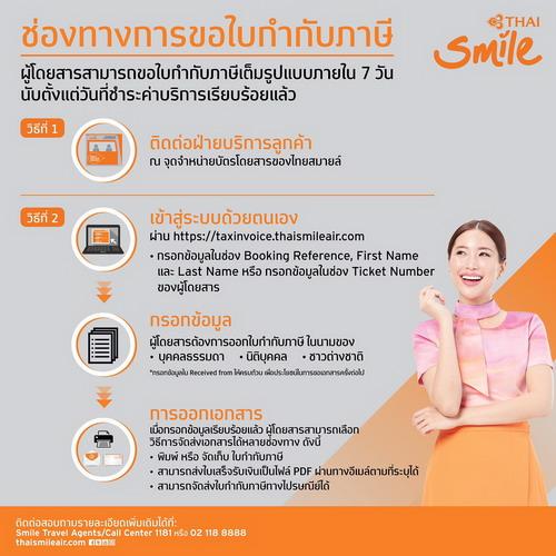 ไทยสมายล์ เพิ่มช่องทางออกใบกำกับภาษีอิเล็กทรอนิกส์ (e-Tax Invoice) พร้อมประกาศความพร้อมสายการบินพาณิชย์ไทยรายแรก 13 -