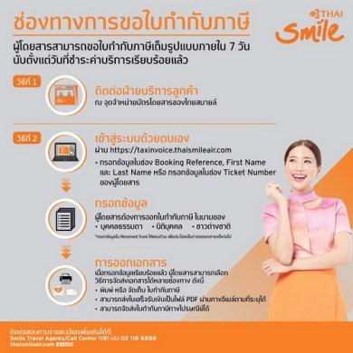 ไทยสมายล์ เพิ่มช่องทางออกใบกำกับภาษีอิเล็กทรอนิกส์ (e-Tax Invoice) พร้อมประกาศความพร้อมสายการบินพาณิชย์ไทยรายแรก 15 -