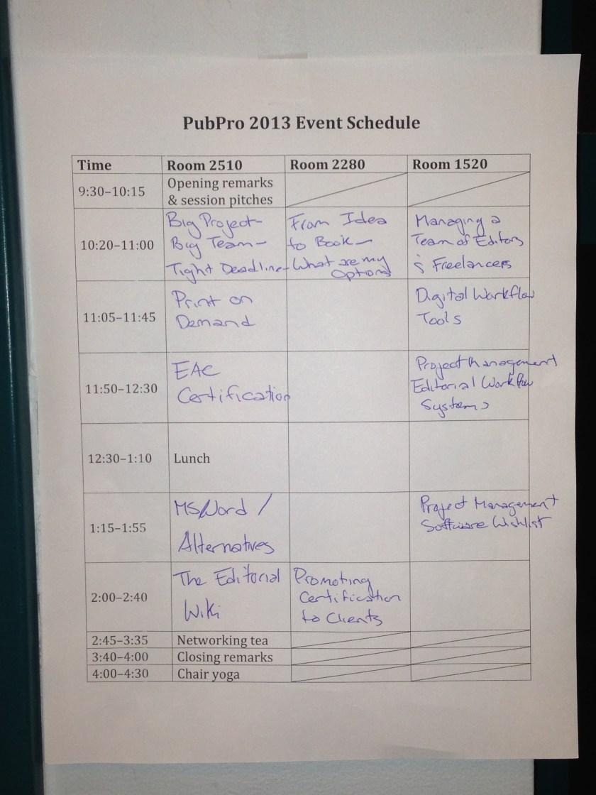 PubPro 2013 schedule