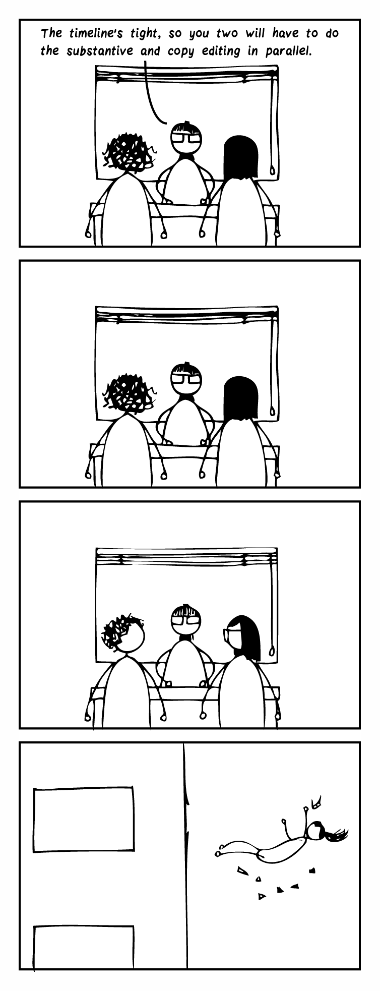 "Four-frame cartoon. Frame 1: A managing editor sits at a desk and talks to two editors. She says, ""The timeline's tight, so you two will have to do the substantive and copy editing in parallel."" Frame 2: The editors stare back at her. Frame 3: The editors look at one another. Frame 4: You see the managing editor falling, having been thrown out the window."