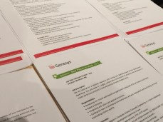 Genesys lays out a stack of six different job descriptions to hire people at Toronto Tech Summit 2015