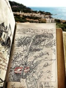 Sketch near Calella de Palafrugell, GR92, in a Midori Traveler's Notebook