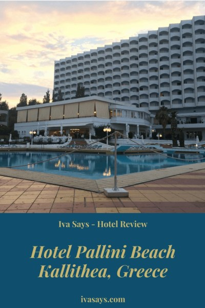 A hotel review of Pallini Beach Hotel by GHotels in Kallithea, Greece (Halkidiki) that is great for a family vacation or a couple's retreat. Pallini Beach Hotel shown from the back with the pool and yellow clouds in the background.