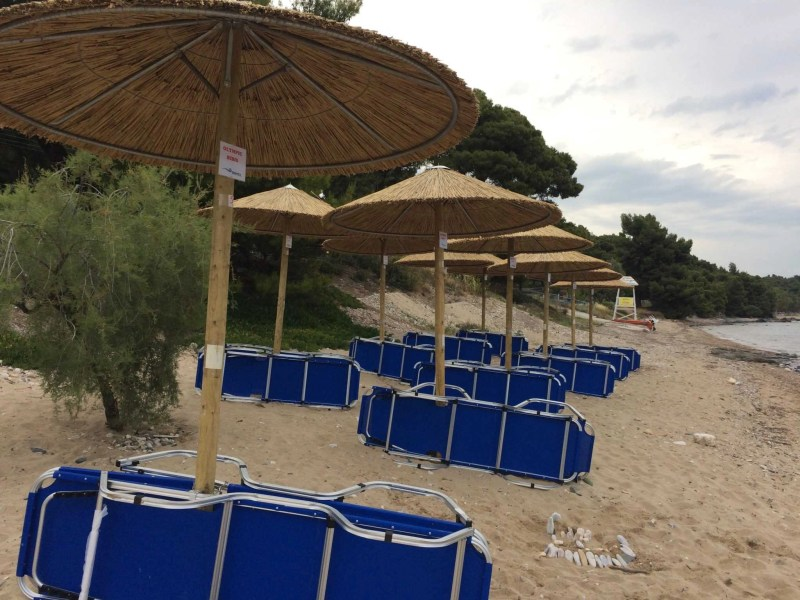 Sunbeds and Umbrellas - Olympic Bibis Hotel Review