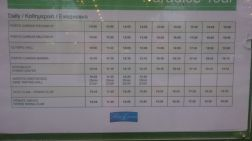 The schedule for the train
