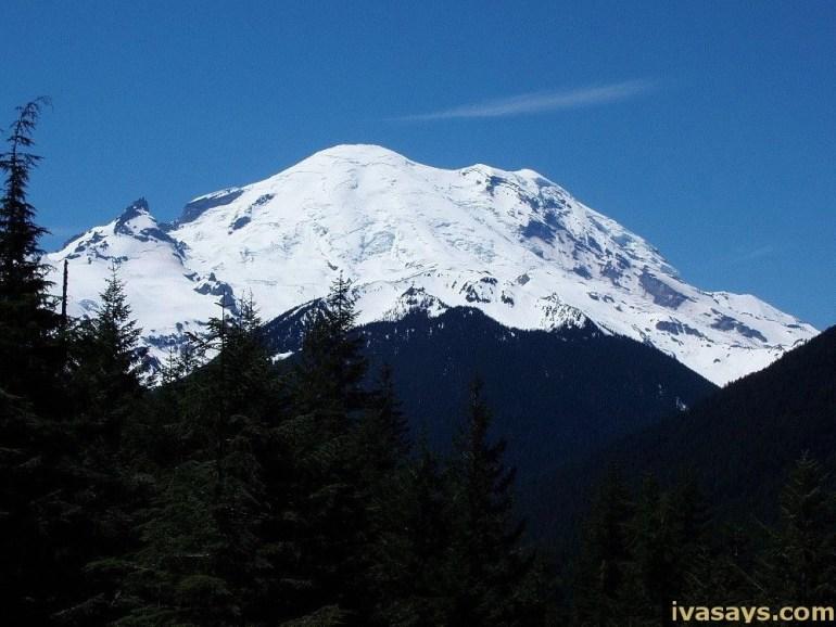 Mount Rainier with snow
