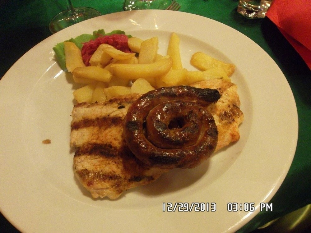 Traditional main dish at the Romania night in the Dracula Tour