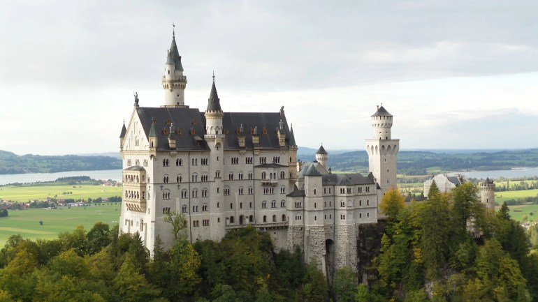 Close Up of Neuschwanstein Castle from Mary's Bridge