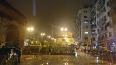 Arch of Galerius and Rotunda in Thessaloniki, Greece at Night