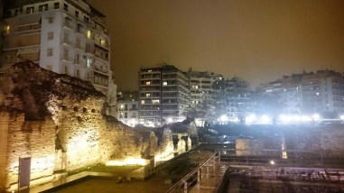 At the Arch of Galerius in Thessaloniki, Greece at Night