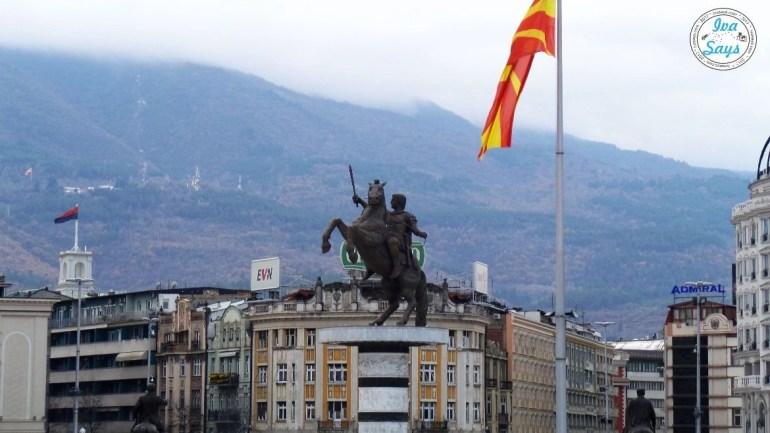 Warrior on Horse Statue in Skopje Macedonia