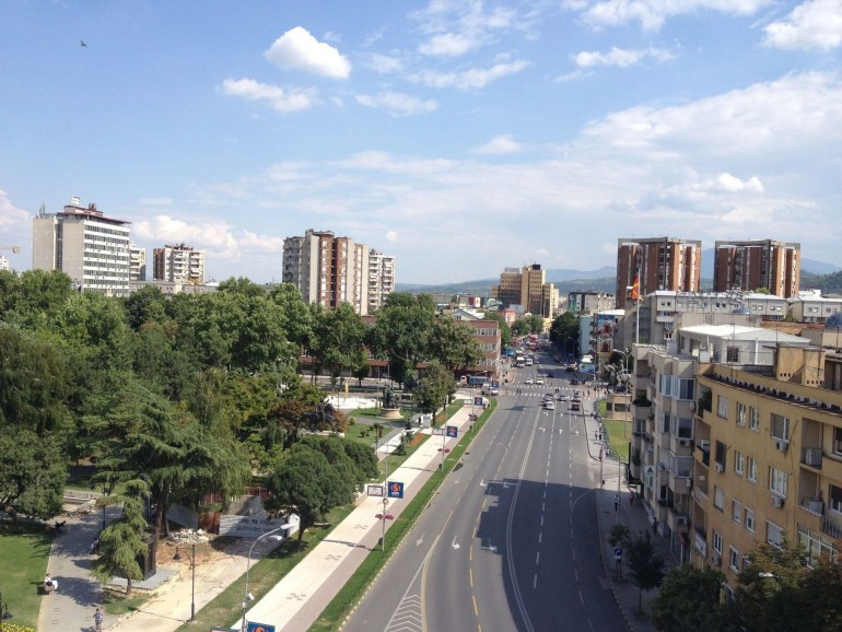 View from the Triumphal Gate in Skopje