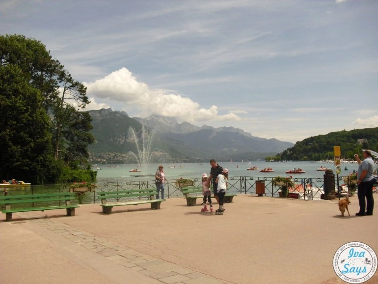 Overlooking Lake Annecy by the Pont des Amours also known as the Lover's Bridge