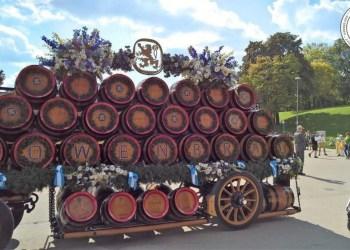 Lowenbraun barrel display at Oktoberfest Munich