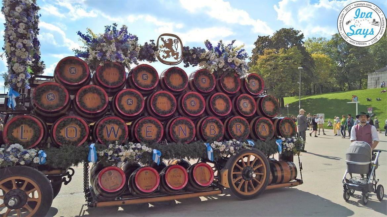 Lowenbraun barrel display at Oktoberfest Munich 2017