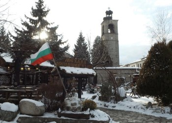The center of the old town of Bansko in Bulgaria.