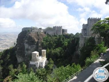 View of Castello di Venero and Castello del Balio from Torretta Pepoli in Erica, Sicily.