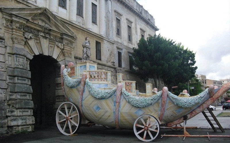 Car carriage made of mosaic stones in Palermo,Sicily.