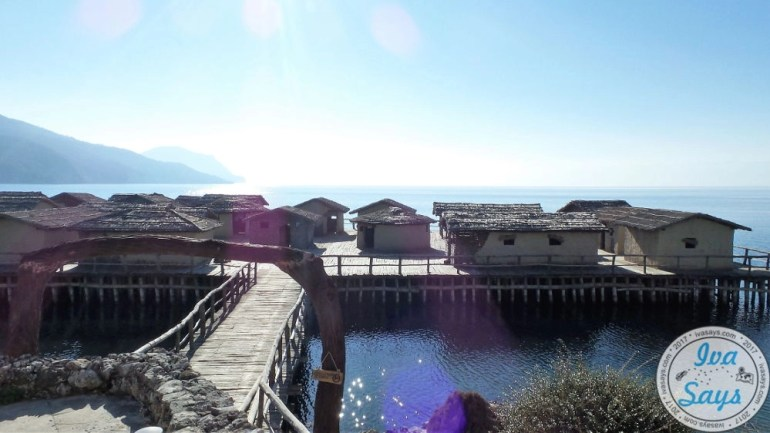 Entrance to the dwellers settlement Bay of Bones on Lake Ohrid through the museum of water in Ohrid, Macedonia
