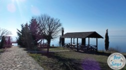 Picnic Area overlooking at Lake Ohrid from the Gradilishte Peninsula where the Roman military fortificatin was reconstructed in Ohrid, Macedonia