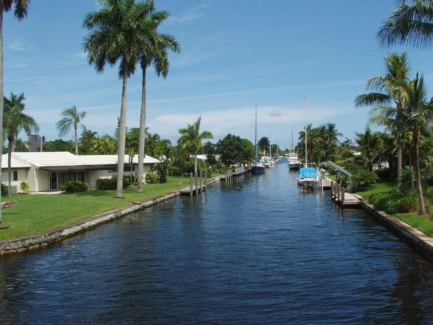 A canal in Fort Lauderdale, Florida.