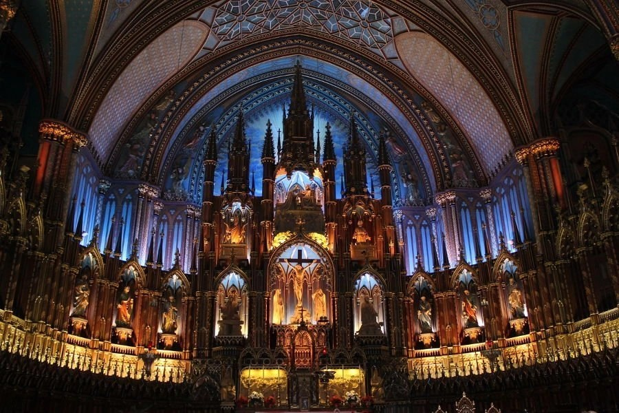 A close up of inside of the Notre-Dame Cathedral in Paris, France.
