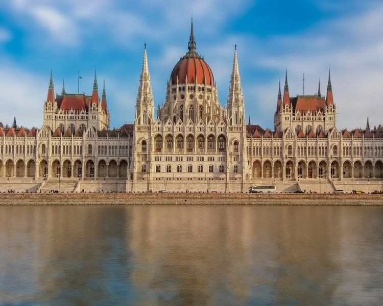 The Hungarian Parliament in Budapest during a cloudy day.