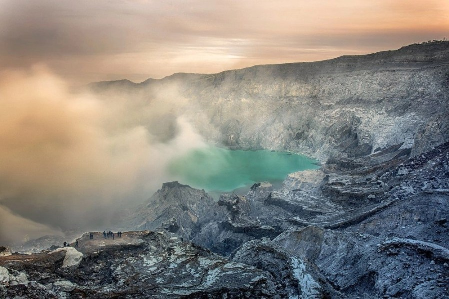 Crater lake in the Gunung Rinjani volcano, which is the second highest, in Indonesia.