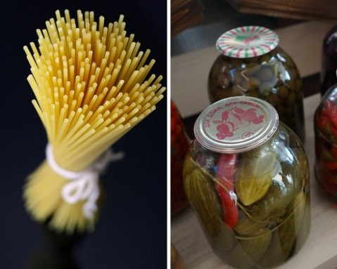 Pasta tied with a string on a black background and two jars of green peppers collage.