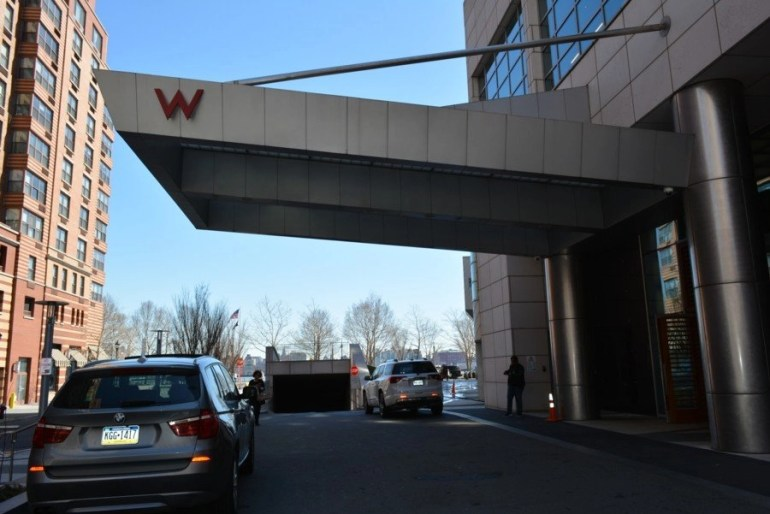 Front entrance of the W Hoboken Hotel, where guests drop off their cars to the valet and enter to get checked in to their rooms.