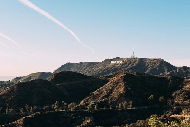 The Hollywood sign in the mountains that you can see from afar when visiting LA, California.