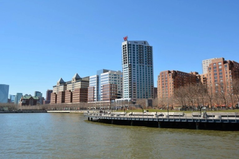 The W Hoboken Hotel on the waterfront by the Hudson River.