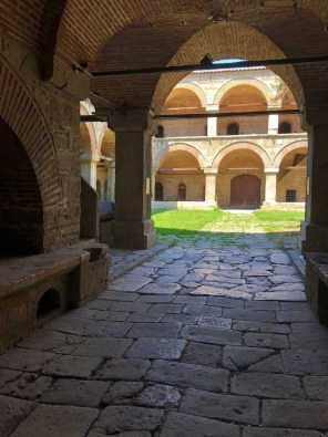 The courtyard of the Kurshumli Han in the Olb Bazaar in Skopje, Macedonia