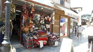 Traditional Folklore clothing sold at one of the shops in the old bazaar in Skopje.