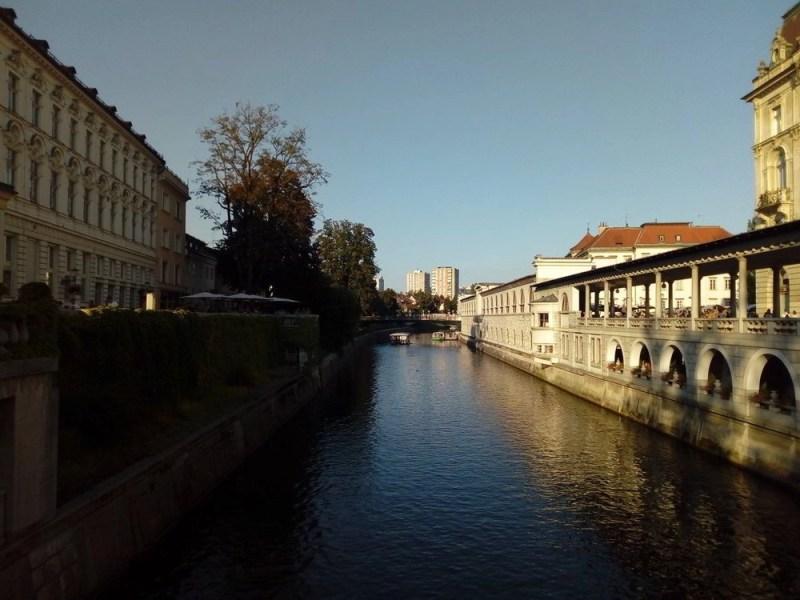 Dusk over the Ljubljanica River in Ljubljana.