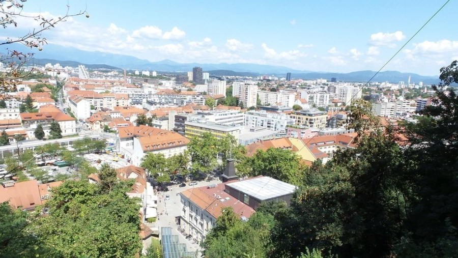 Panoramic and scenic view of the old Ljubljana town by the cable car at the castle.