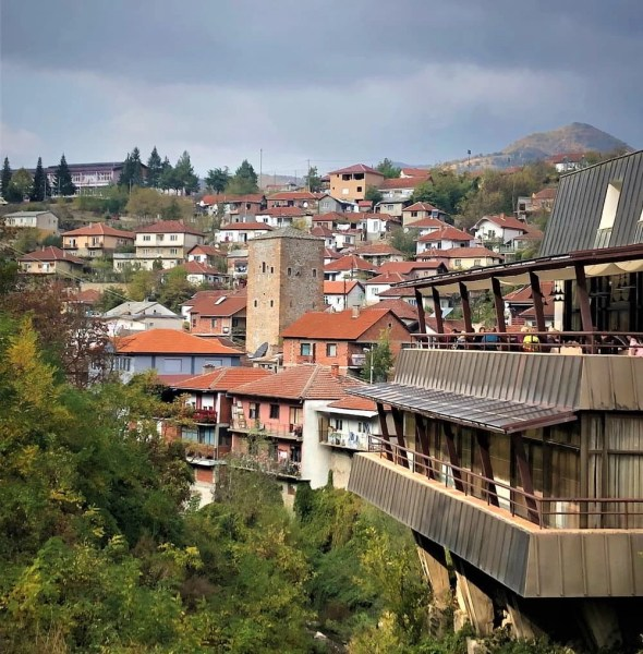 Houses and a Tower in a city overview of Kratovo, Macedonia.