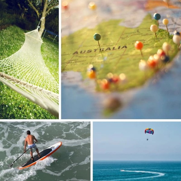 Photo collage of adventures around the world.