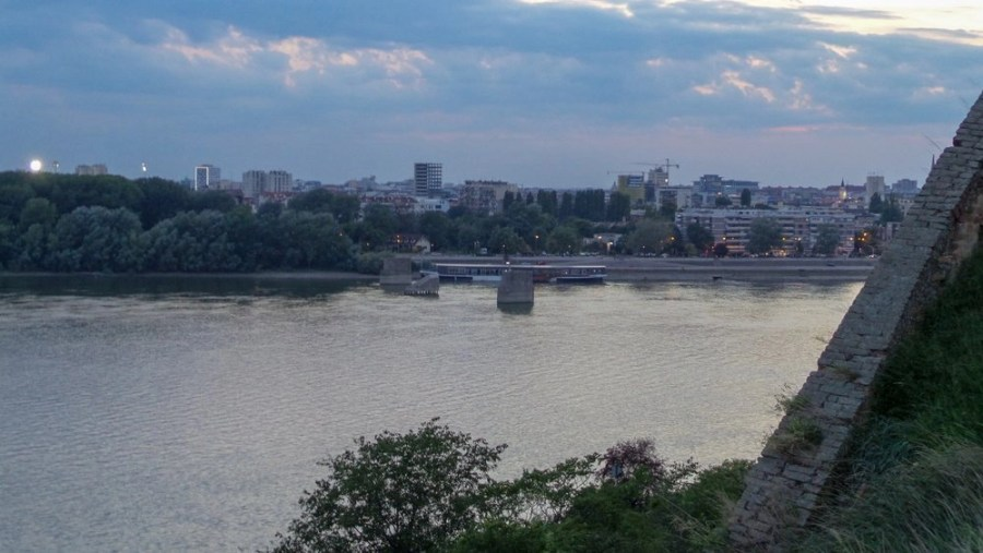Partial bridge remains in the Dunabe River from the NATO Bombing over Novi Sad in 1999.