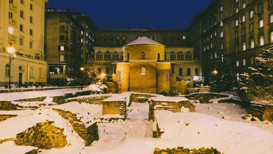 The Rotunda in Sofia, Bulgaria covered with snow.