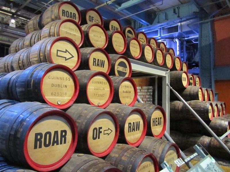 Stacks of barrels.