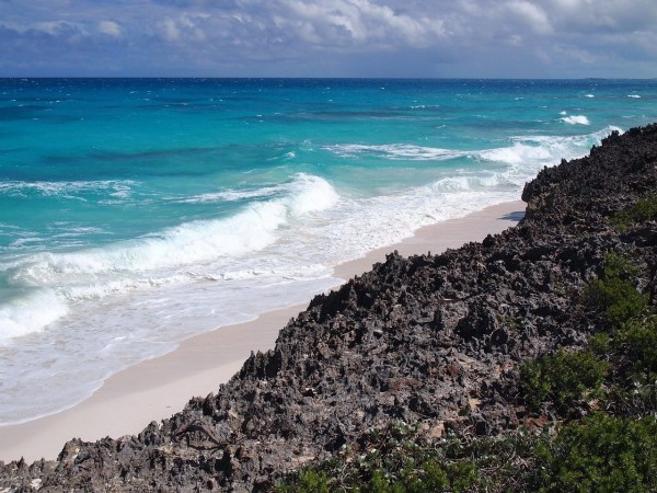 Ocean waves hitting the shoreline.