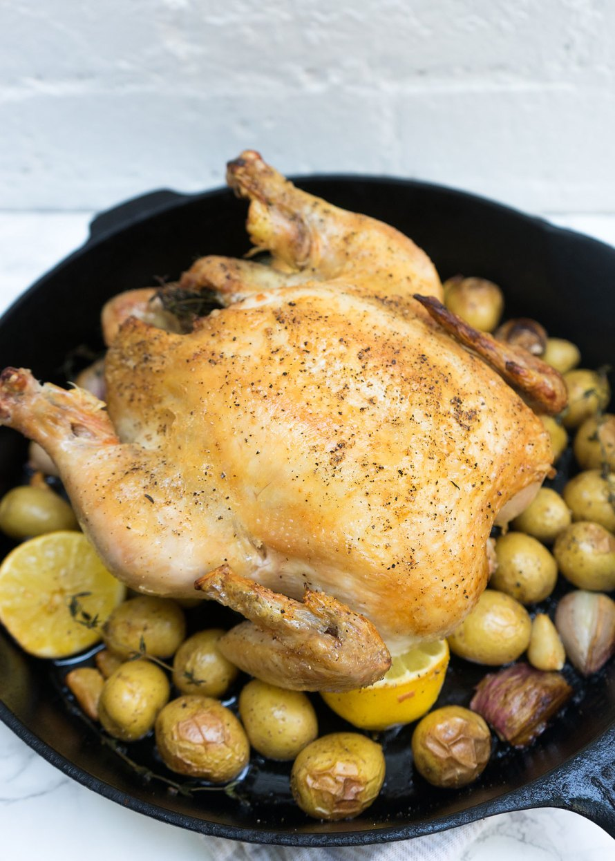 Ghee Roasted Cast Iron Skillet Chicken