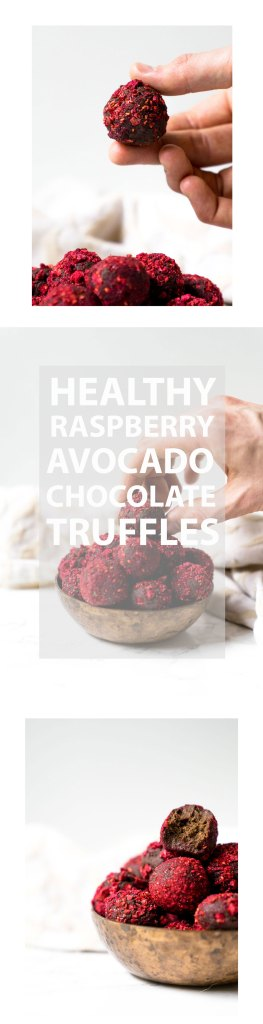 Healthy RTaspberry Avocado chocolate truffles